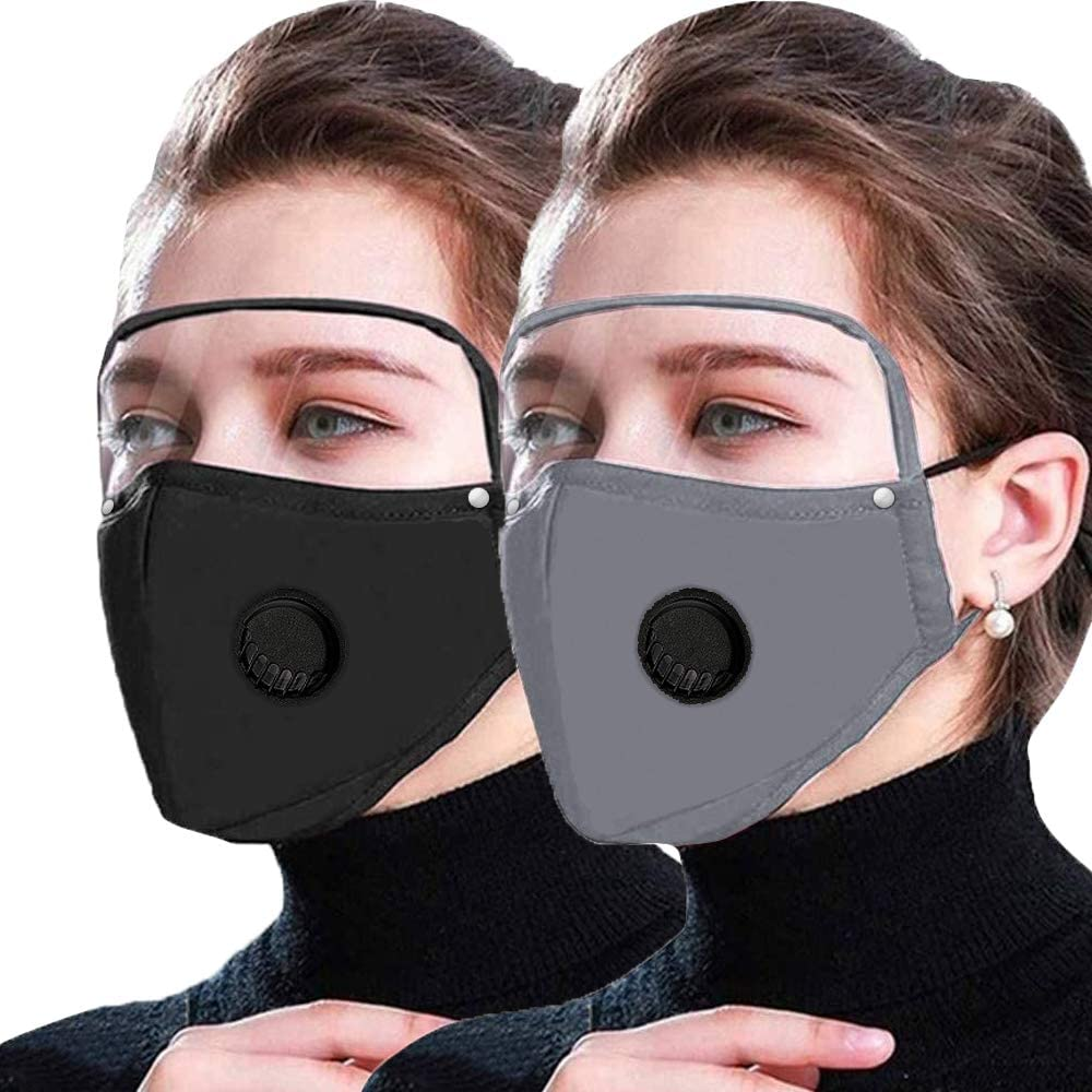 Reusable and Breathable Face Bandanas with Detachable Eye Shield, Full Protection, Indoors and Outdoors, Anti-Haze Dust, for Men Women (valve-black&grey)