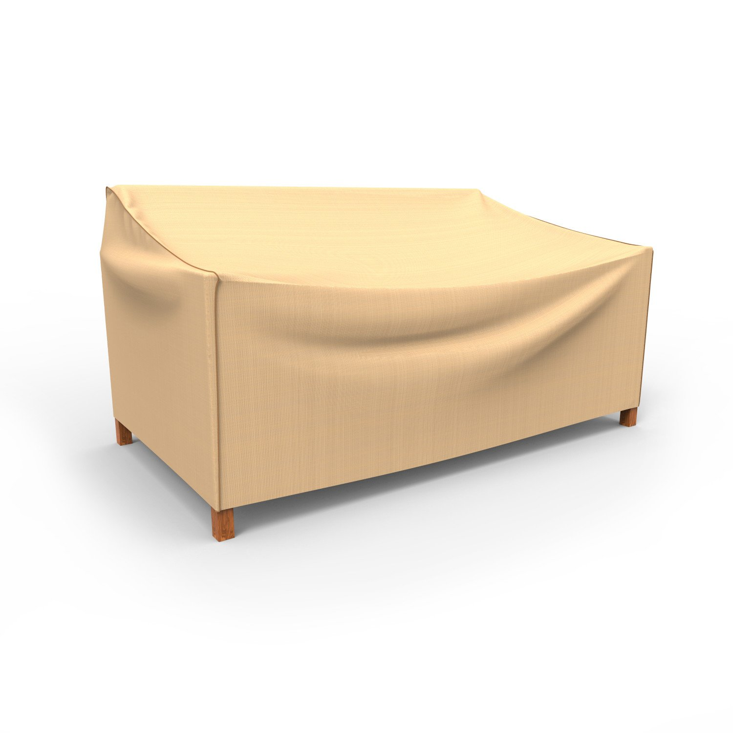 Budge P3W06TNNW1 Outdoor Patio Loveseat Cover-Large Rust-Oleum Neverwet Furniture, 35'' x 58'' W x 38'' deep, Tan