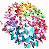 PrettyFNT 72PCS 3D Colorful Butterfly Wall Stickers,DIY Art Decoration Crafts for Classroom Office Bedroom Bathroom Living Room with Magnets and Glue Sticker Set