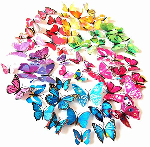 PrettyFNT 72PCS 3D Colorful Butterfly Wall Stickers,DIY Art Decoration Crafts for Classroom Office Bedroom Bathroom Living Room with Magnets and Glue Sticker Set (Stickers Butterfly Wall)