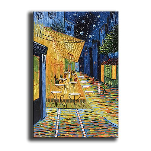 YaSheng Art - Cafe Terrace at Night by Van Gogh Famous Oil Paintings Reproduction Artwork Modern hand-painted Landscape Art Painting Home Office Decor Canvas Wall Art Paintings Ready to Hang (Famous Landscape Oil Paintings)