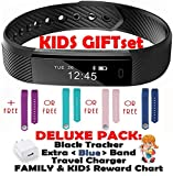 Fitness tracker for Kids Women Men | Smart Watch 2 Wrist Bands for iOS Android | Bluetooth Pedometer Activity Tracker Step Counter Sleep Monitor Tracker+Charger+Chart+Black+Color Band (Deluxe Blue)