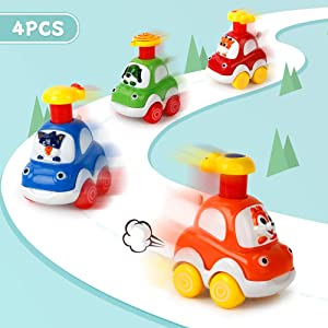 Mini Tudou Baby Toy Car 4 Pcs Cartoon Wind Up Cars Early Educational Press Car Best Pull Back Car for Ages 2 3 4 5 Boys&Girls