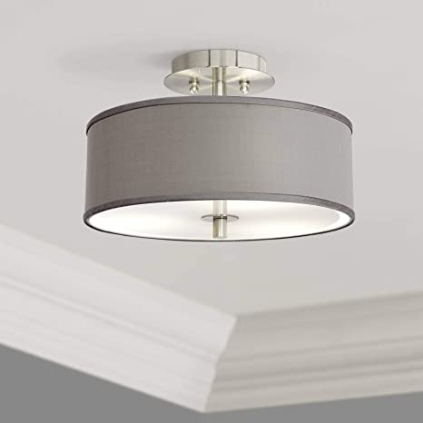 Grand Contemporary Modern Ceiling Light Semi Flush Mount Fixture Brushed Nickel 14 Wide Gray Fabric Drum Shade For House Bedroom Hallway Living Room Bathroom Dining Kitchen Possini Euro Design Amazon Com