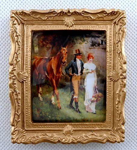 Melody Jane Dolls House Edwardian Romance Picture Painting Gold Frame Miniature Accessory