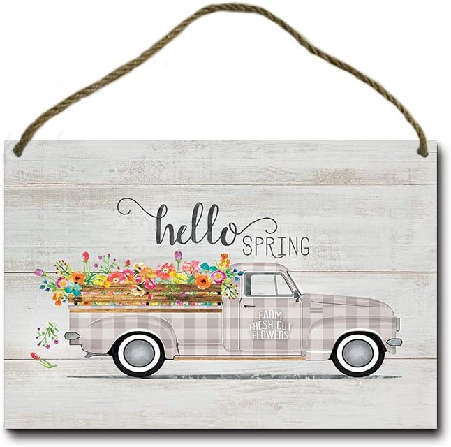 Guyte Hello Spring Vintage Truck Rustic Wood Plank Design Hanging Sign