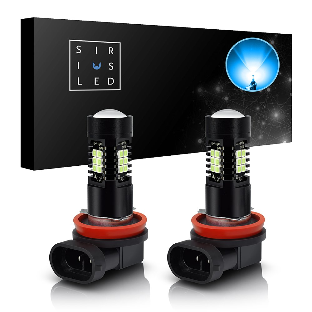 SiriusLED H11 Ice Blue Color LED Fog Light DRL Projector lens Super Bright Plug and Play Aluminum Body Pack of 2