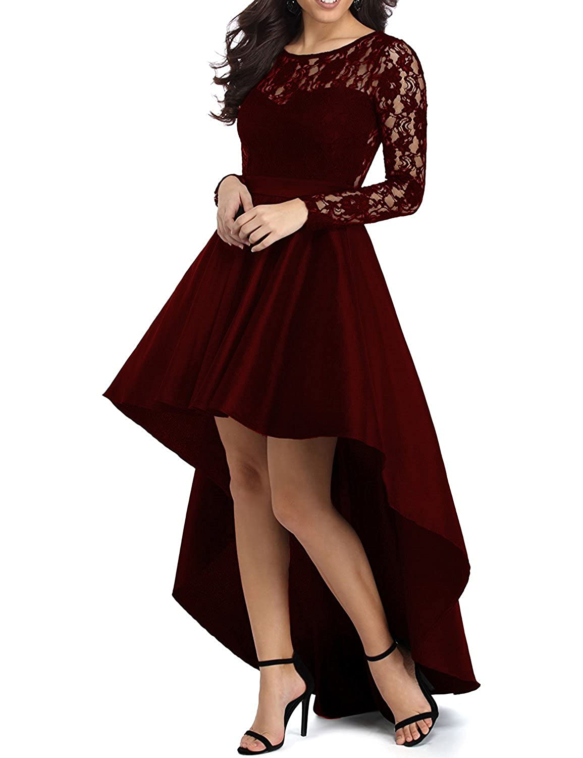 Lily Wedding Womens Long Sleeve High Low Prom Dresses 2018 Formal Evening Party Ball Gowns P058