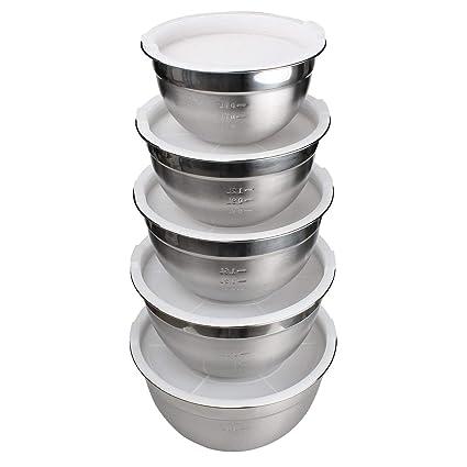 JUNING 18/10 juego de 5 cuencos de acero inoxidable, tecnología muy pulida, juego de tazones para mezclar / ensaladera de acero inoxidable, cocina de ...