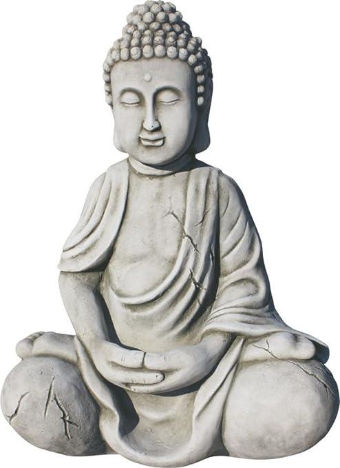 AnaParra Figura Buda Seguridad para el jardín Decorativa 43cm. Hormigón-Piedra Natural Musgo.: Amazon.es: Jardín