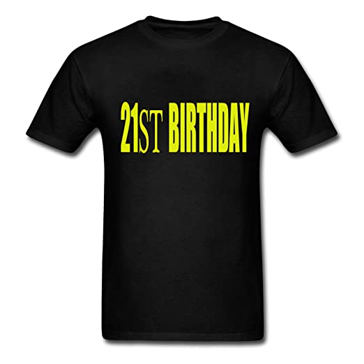 Jianwu33 Mens Cotton T Shirt 21st BIRTHDAY