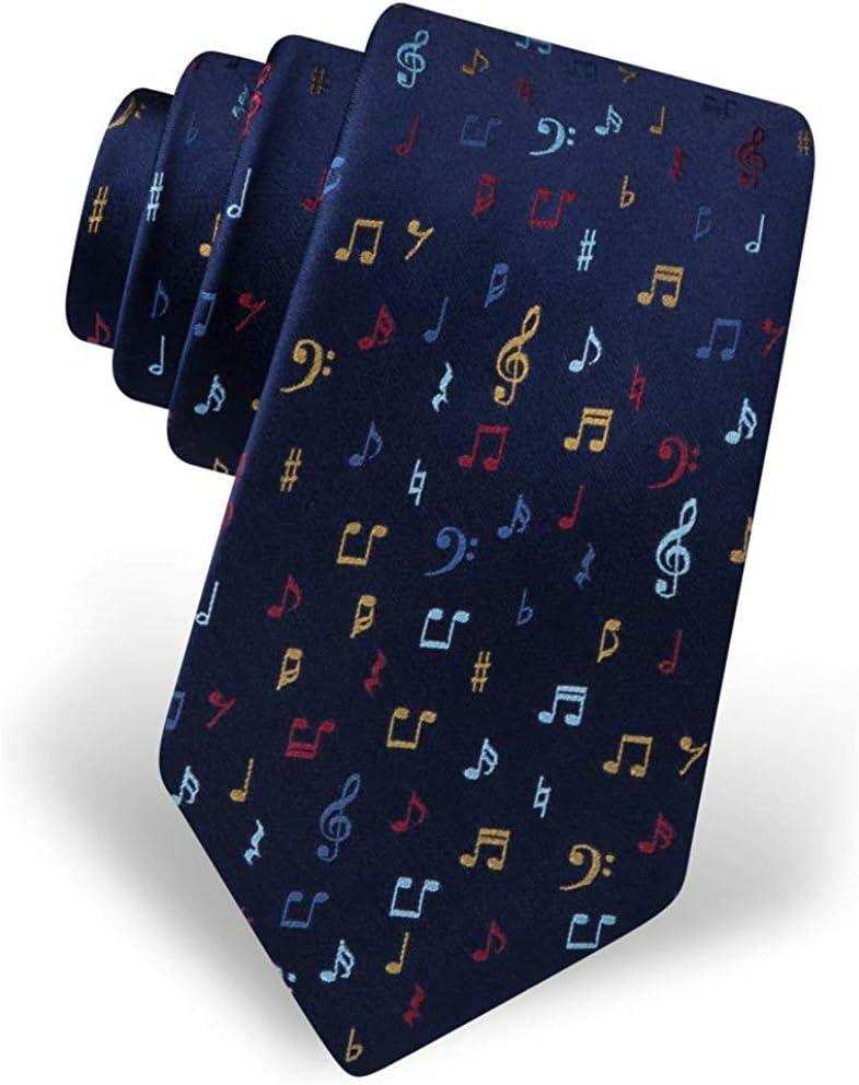 Corbata azul marino para hombre, notas musicales, novedad del ...