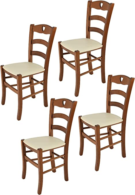 tmcs Tommychairs Set 4 sedie Classiche Cuore per Cucina e Sala da Pranzo, Robusta Struttura in Legno di faggio Verniciata Color Noce e Seduta