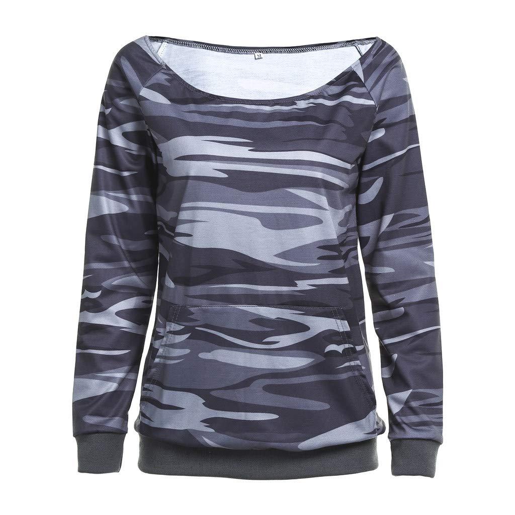 Womens Shirt Long Sleeve Camouflage Shirt Casual Outwear Tunic Blouse Slim Tops