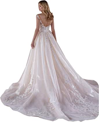 Women's Illusion Sweetheart Lace Sequins Mermaid Wedding Dresses for Bride with Detachable Train Bridal Gown