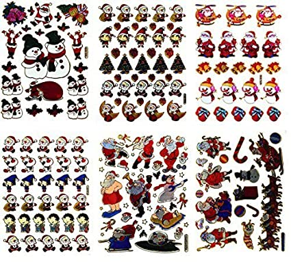 santa001 6 sheets of merry christmas stickers scrapbook stickers christmas reflective stickers