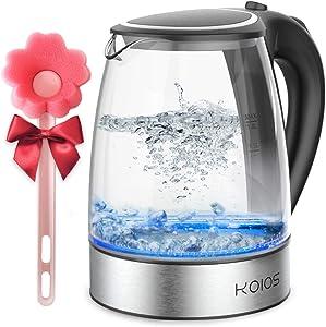 KOIOS 1.8L Electric Kettle, 1500W Borosilicate Glass Tea Kettle, Fast Heating LED Cordless Kettle, Auto Shut-Off Boil-Dry Protection Stainless Steel Inner Lip, Tea Pot, BPA-Free, Water Boiler