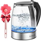 KOIOS 1.8L Electric Kettle, 1500W Borosilicate Glass Tea Kettle, Fast Heating LED Cordless Water Boiler, Auto Shut-Off, Boil-Dry Protection, Stainless Steel Inner Lip, Tea Pot, BPA-Free, Fast Boiling