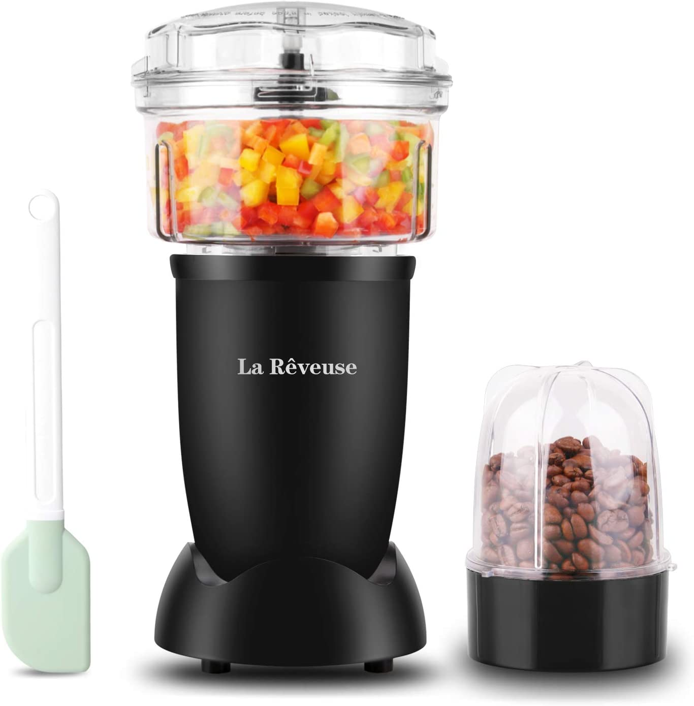 La Reveuse 2-Cup Food Processor & Vegetable Chopper & Food Grinder,250 Watts, for Dicing, mincing,Chopping,Puree,Grinding,Silver (Black)