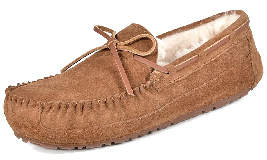 DREAM PAIRS Men's Au-Loafer-02 Tan Sheepskin Fur Moccasins Slippers Loafers Shoes Size 11 M US