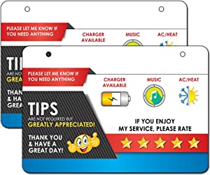 "Car Sign for Uber & Lyft Rideshare Drivers - Large 9"" x 6"" - 2 Durable & Thick Laminated Cards - 5 Star Rating & Tips Appreciated - Headrest Hanging Sign"