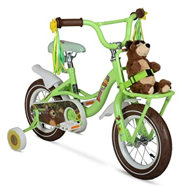 "Masha and the Bear 12"" Children's Bike with Authentic Graphics. Front Mounted Cargo Rack, Full Printed Saddle and Front and Rear fenders : Sports & Outdoors"