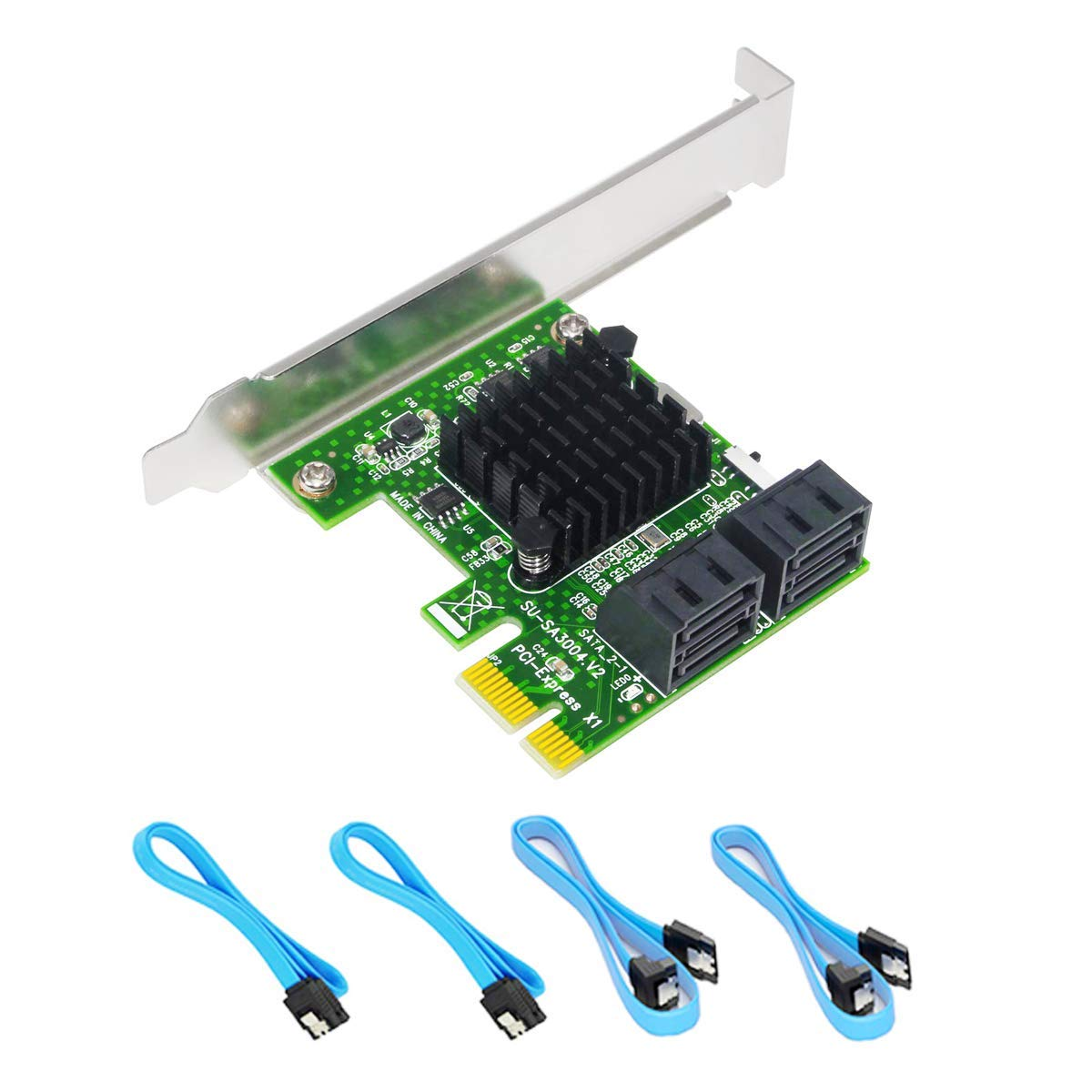 Ziyituod SATA Card,4 Port 6 Gbps SATA Controller PCI Express Expression Card with Low Profile Bracket,Boot as System Disk,Support 4 SATA 3.0 Devices,Built-in Adapter Converter for Desktop PC