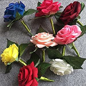 XGM GOU Artificial PU White Rose Groom Boutonniere Wedding Party Men Corsage Prom Pin Brooch Lapel Flower Decoration 62