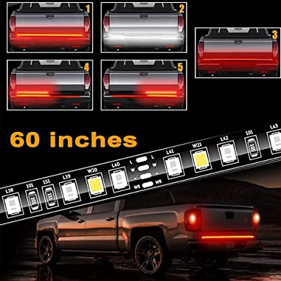 Tailgate Light Bar 60 Inch Truck Brake Flexible Strip Trailer Tail Lights Turn Signal Reverse Back Up Stop Running Light for Pickup RV SUV Van Car Jeep, Red/White, No Drill Needed: Automotive