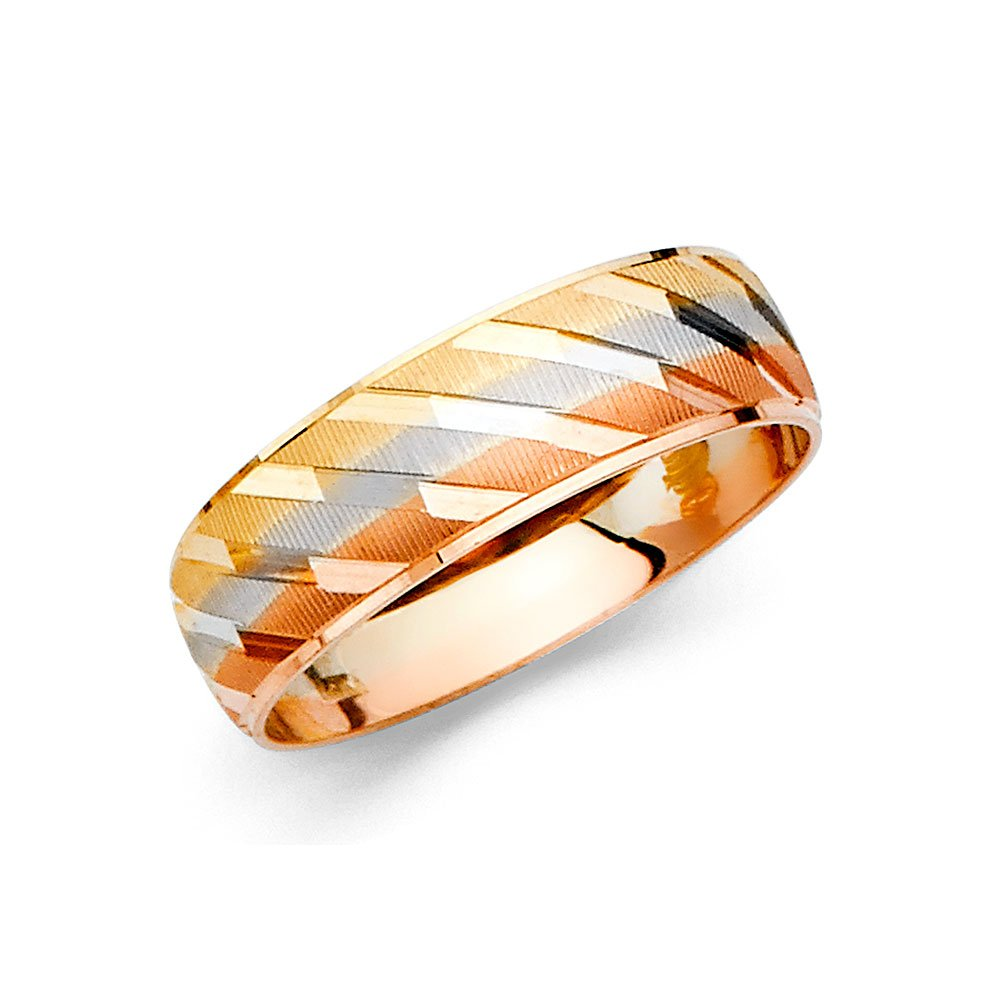 Ioka Jewelry - 14K Tri Color Solid Gold 6mm Men's Wedding Band - size 12.5