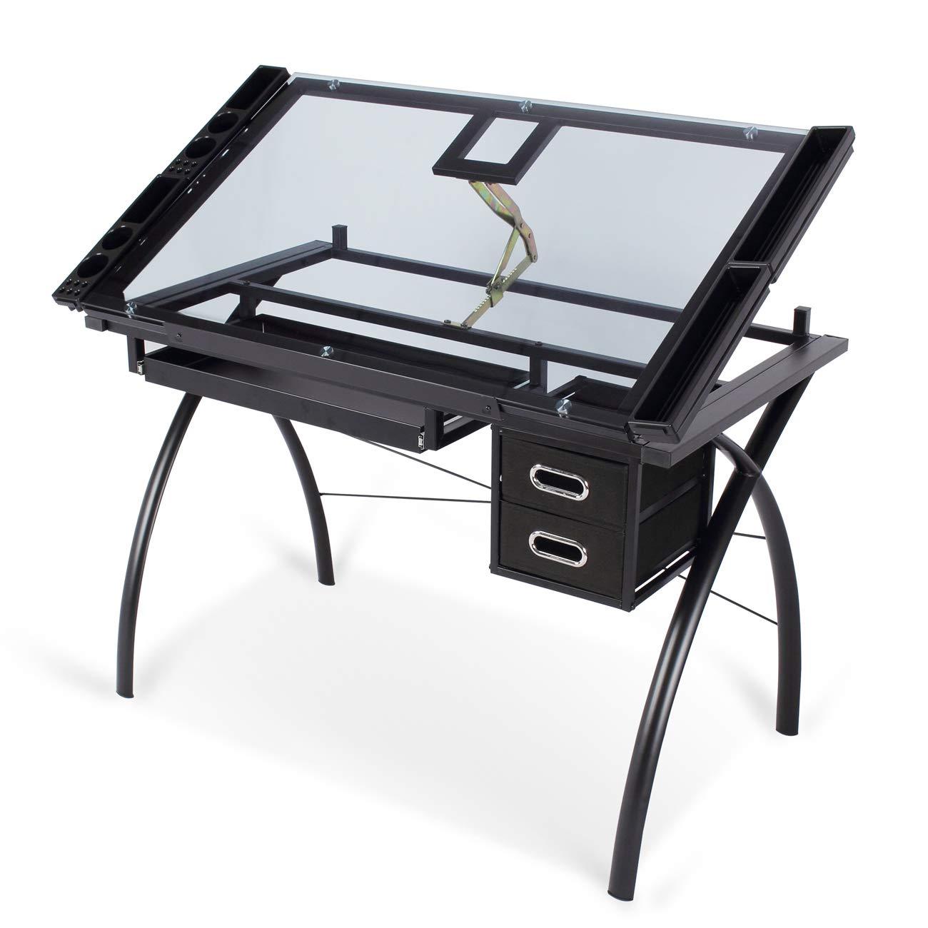 Belleze Drawing Craft Art Steel Draft Adjustable Table Glass Desktop for Studio Office w/Storage Drawers, Black
