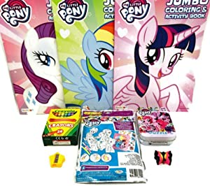 My Little Pony Coloring Book Bundle- 3 MLP Coloring Books, Play Pack, 50 pc Minii Puzzle, 24 pk Crayons and Bonus Star Pencil Sharpener and Eraser