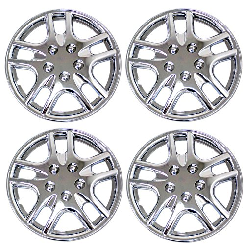 TuningPros WSC3-523C15 4pcs Set Snap-On Type (Pop-On) 15-Inches Chrome Finish Hubcaps Wheel Cover