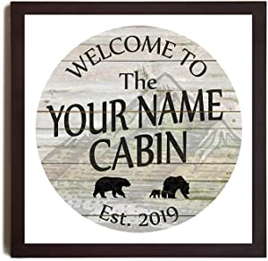 EricauBird Sign-Yourname Personalized Cabin Style White Wall D¨¦cor Man Cave, Decorative Home Wall Art, Wood Sign, 12x12,s1341