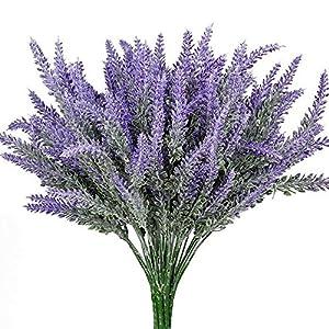 Evoio Artificial Flocked Lavender Bouquet, DIY Bridle Flowers Arrangements Home Kitchen Garden Office Wedding Decor Floral-Purple 21