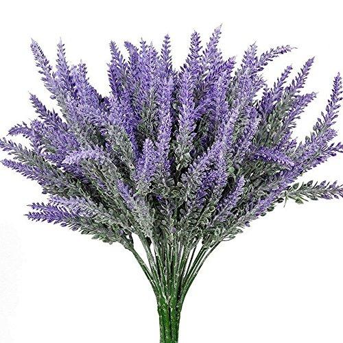 Evoio 10pcs Artificial Flocked Lavender Bouquet, DIY Bridle Flowers Arrangements Home Kitchen Garden Office Wedding Decor Floral-Purple (Dust Flower)