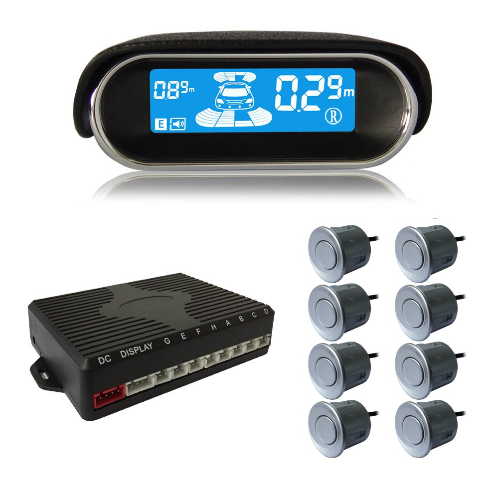 Amazon.com: BeneGlow Dual-core Front and Rear LCD Display Car Vehicle Reverse Backup Radar System with Parking Sensors (8 Sensors, Silver): Automotive