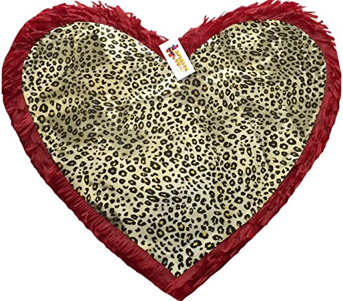 Red Color & Leopard Print Heart Pinata