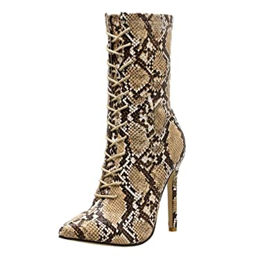 8f96b7ee373 Amazon.com  Caopixx Boots for Women Knee High Women s Pumps Snakeskin Boots  Pointed Toe Zip Thin High Heels Shoes  Clothing