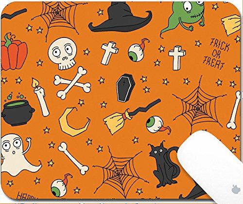Luxlady Gaming Mousepad 9.25in X 7.25in IMAGE: 31443678 Happy Halloween Seamless pattern with pumpkins skulls cats spider s web ghosts monsters witch hat Trick or treat Vector illustration Backgroun