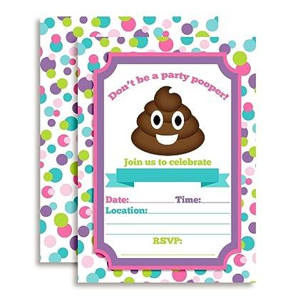 Amazon poop emoji party pooper girl birthday party invitations poop emoji party pooper girl birthday party invitations 20 5 x 7 fill in cards filmwisefo