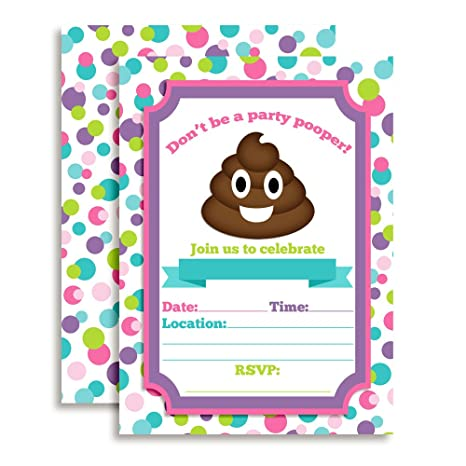 Amazon Poop Emoji Party Pooper Girl Birthday Invitations 20 5 X 7 Fill In Cards With Twenty White Envelopes By AmandaCreation Toys Games