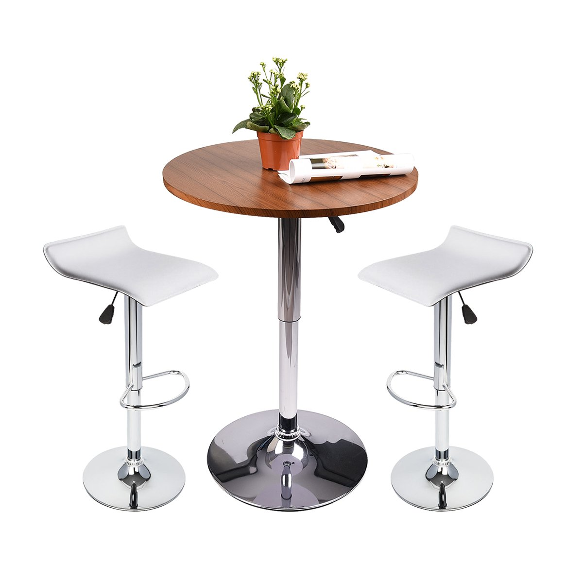 35 Inches Height Round Bar Table Adjustable Height Chrome Metal and Wood Cocktail Pub Table MDF Top 360°Swivel Furniture (Black) PULUOMIS