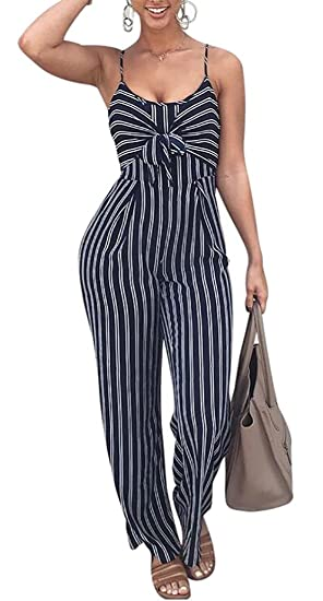 6db4469391d Amazon.com  GAGA Women s Sexy Slim Fit Spaghetti Strap Striped Tie Backless Jumpsuit  Romper  Clothing
