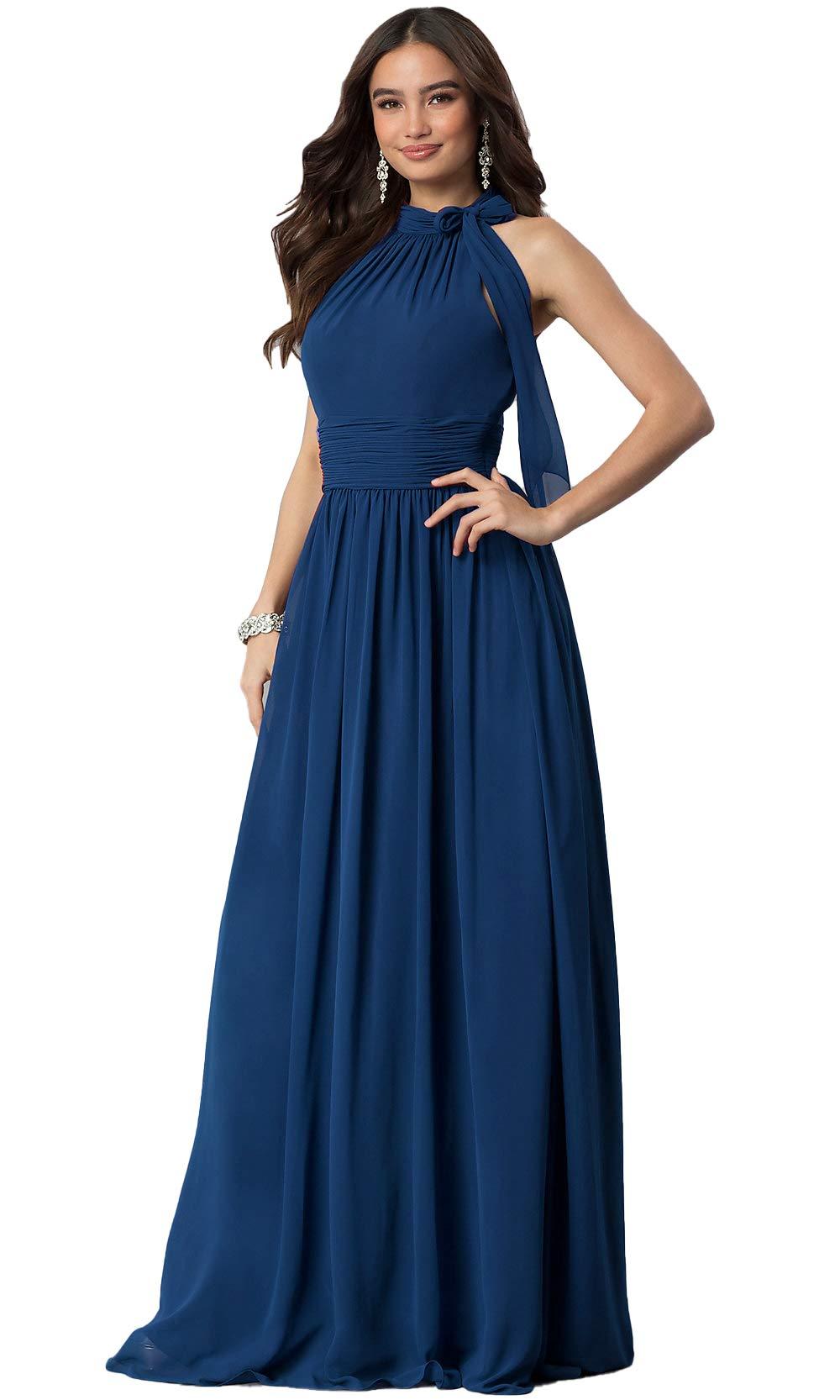 Aofur New Lace Long Chiffon Formal Evening Bridesmaid Dresses Maxi ...