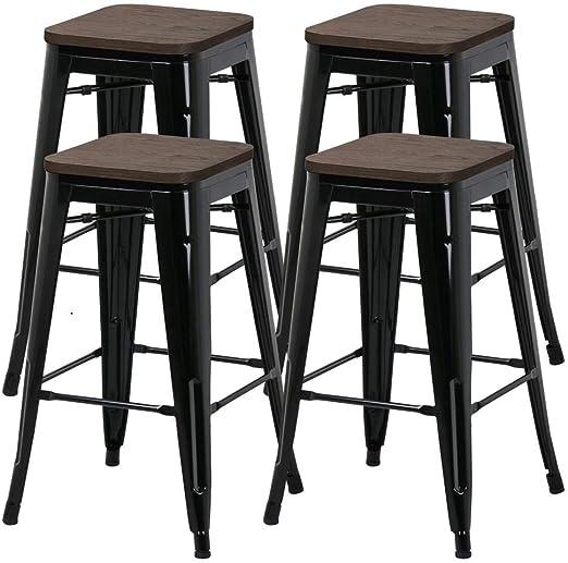 66 cm de Yaheetech Métal salle Chaise de à de 4 mangerCuisine Bar Bois et en tabourets Lot k0OPwn8