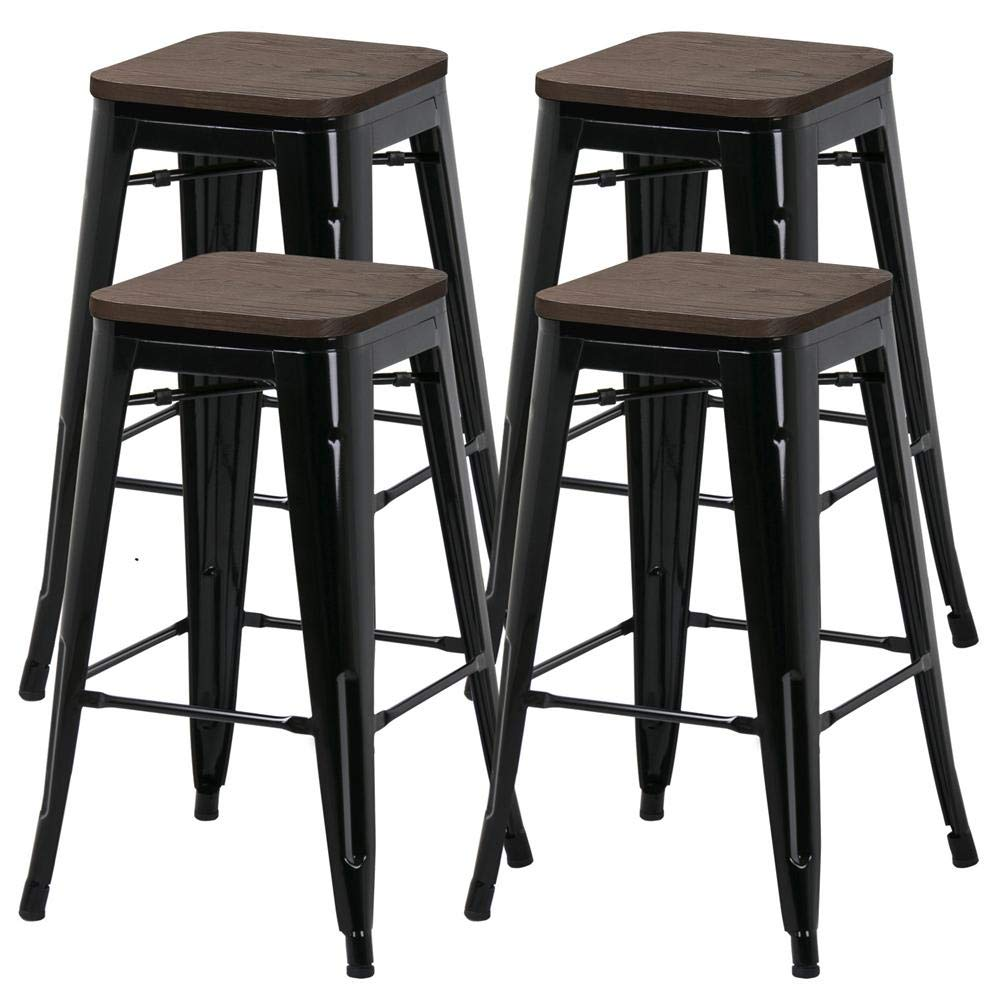 Yaheetech 26inch barstools Set of 4 Counter Height Metal Bar Stools, Indoor Outdoor Stackable Bartool Industrial with Wood Seat 331Lb, Black by Yaheetech