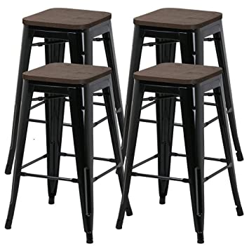 Pleasing Yaheetech 26Inch Barstools Set Of 4 Counter Height Metal Bar Stools Indoor Outdoor Stackable Bartool Industrial With Wood Seat 331Lb Black Ncnpc Chair Design For Home Ncnpcorg