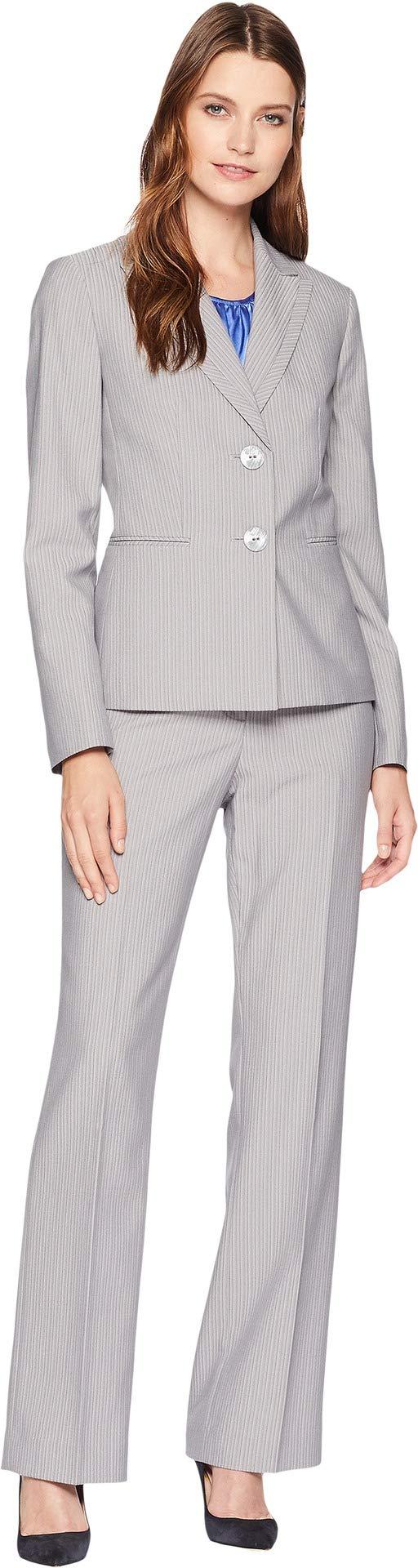 Le Suit Women's Pinstripe 2 Button Jacket Pant Suit, Slate/Bluebell, 12