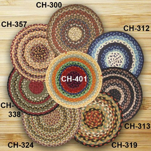 """Earth Rugs CH-357 Round Chair Pad, 15.5"""", Burgundy/Gray/Crem"""